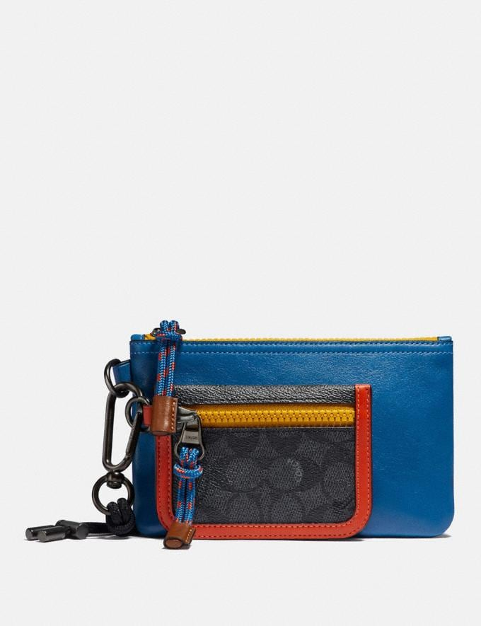 Coach Double Pouch Lanyard in Signature Canvas With Coach Patch Charcoal Signature Multi Men Bags Pouches