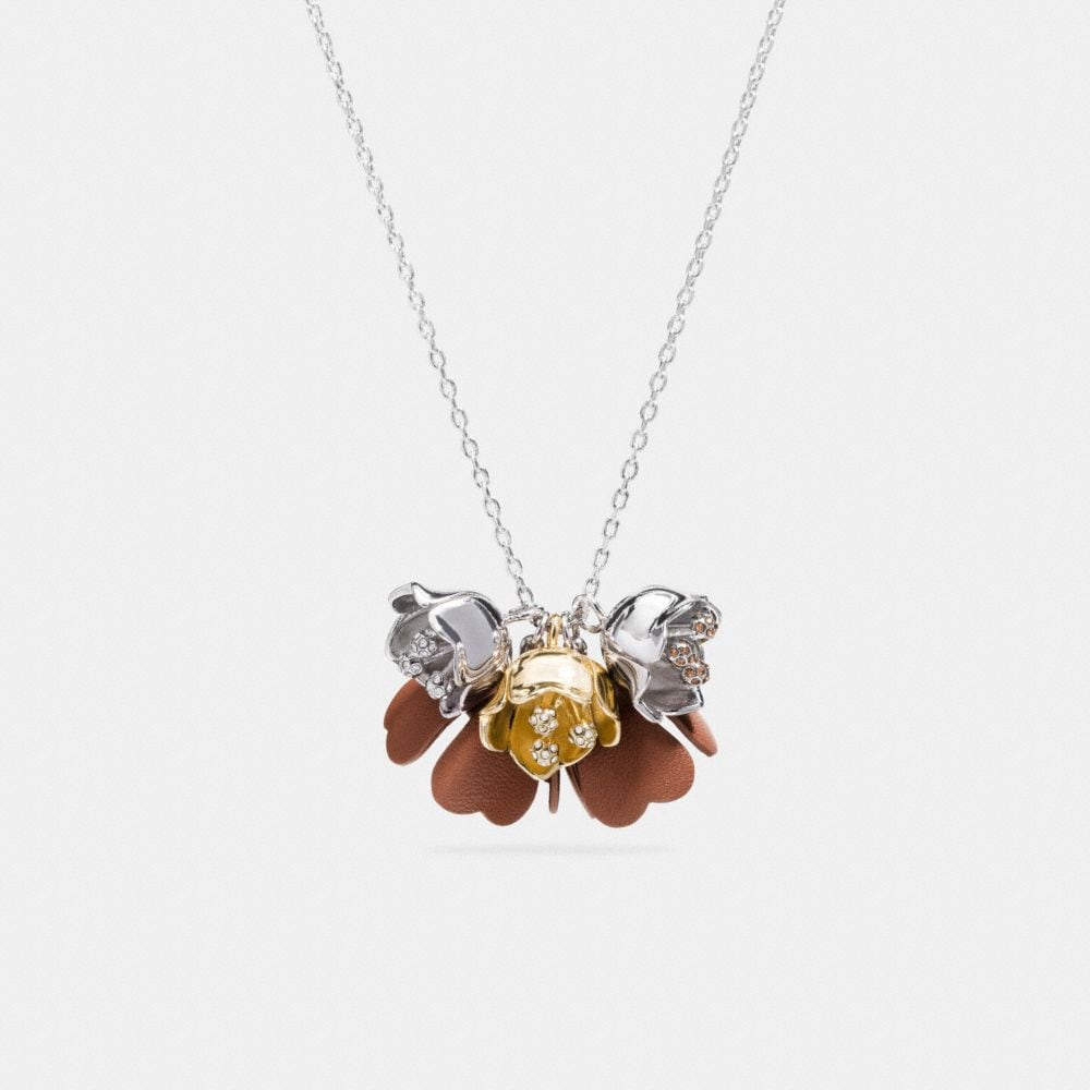 LONG SADDLE LEATHER TEA ROSE NECKLACE
