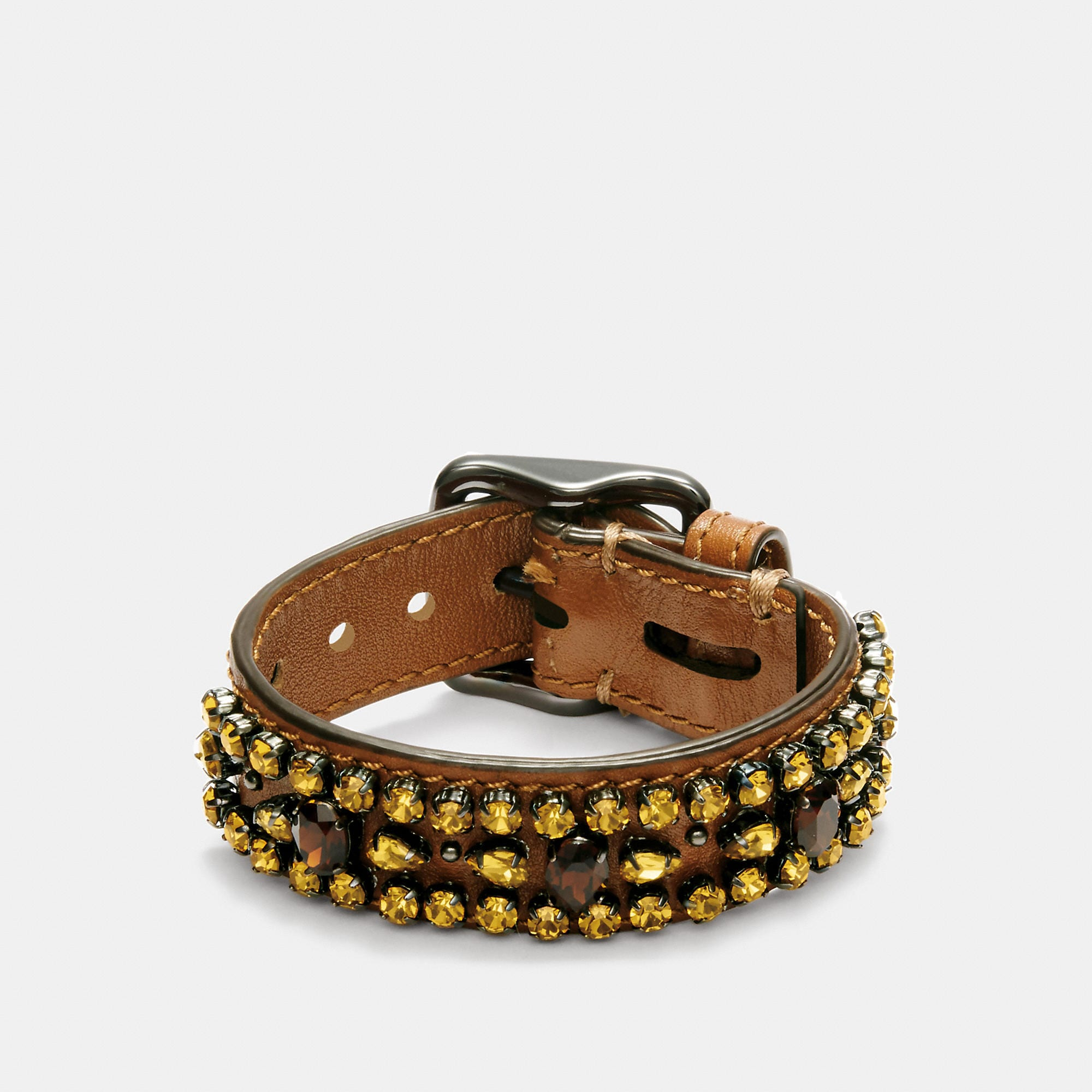 Coach 1941 Wide Leather Encrusted Crystal Bracelet