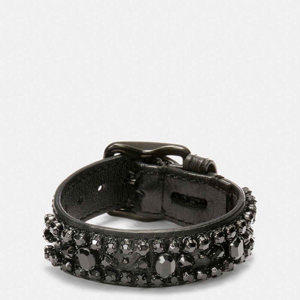 Wide Leather Encrusted Crystal Bracelet