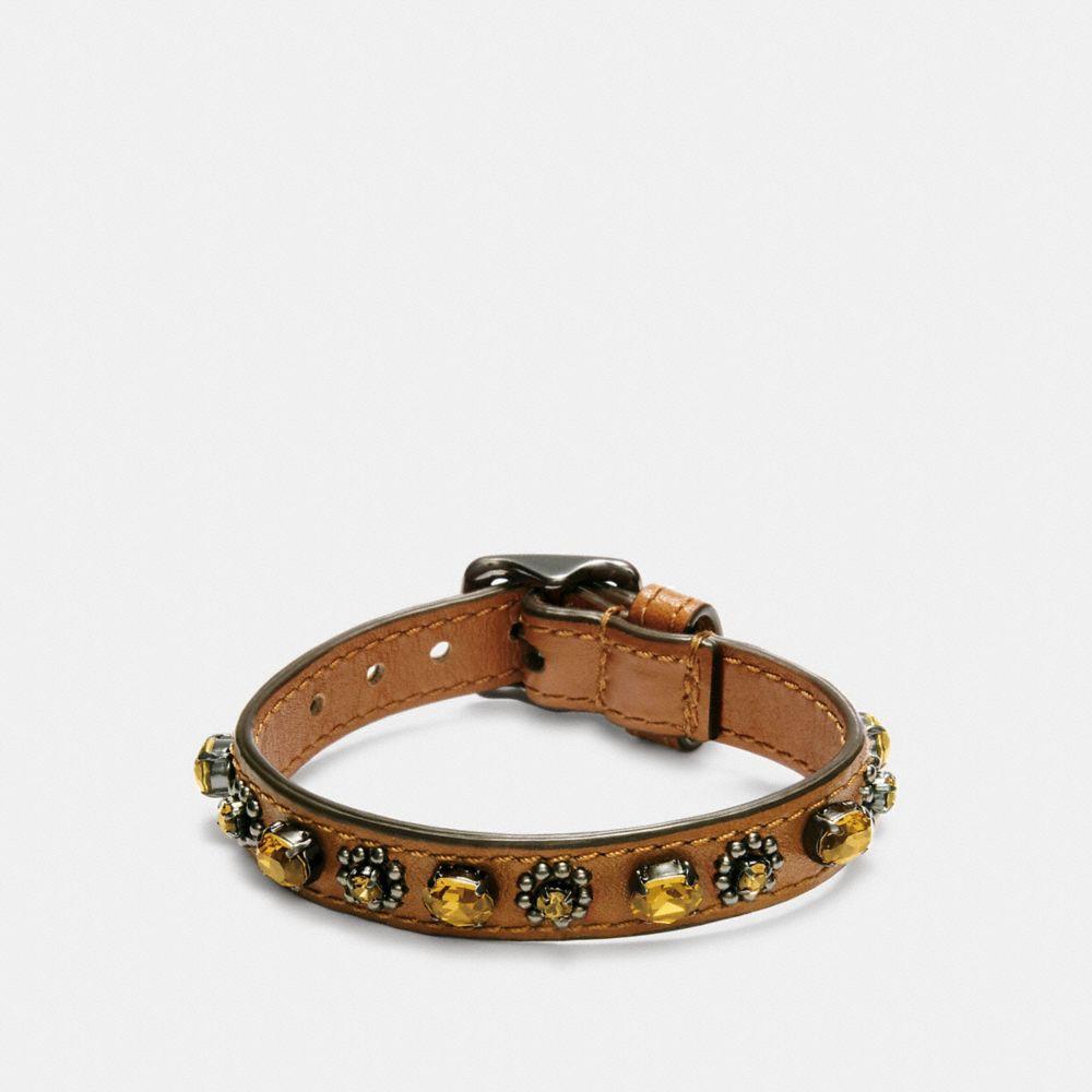 Medium Leather Oval Crystal Bracelet