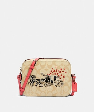 MINI CAMERA BAG IN SIGNATURE CANVAS WITH HORSE AND CARRIAGE HEARTS MOTIF