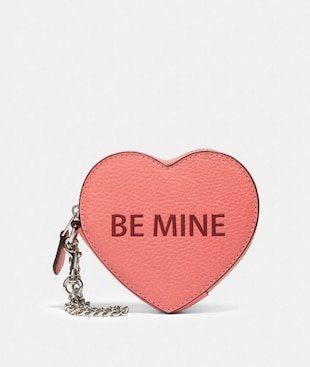 HEART COIN CASE WITH BE MINE AND XOXO MOTIF