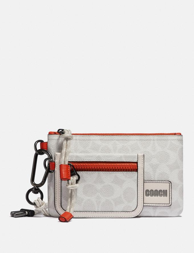 Coach Double Pouch Lanyard in Signature Canvas With Coach Patch Chalk/Mango
