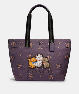 DISNEY X COACH TOTE WITH ROSE BOUQUET PRINT AND ARISTOCATS