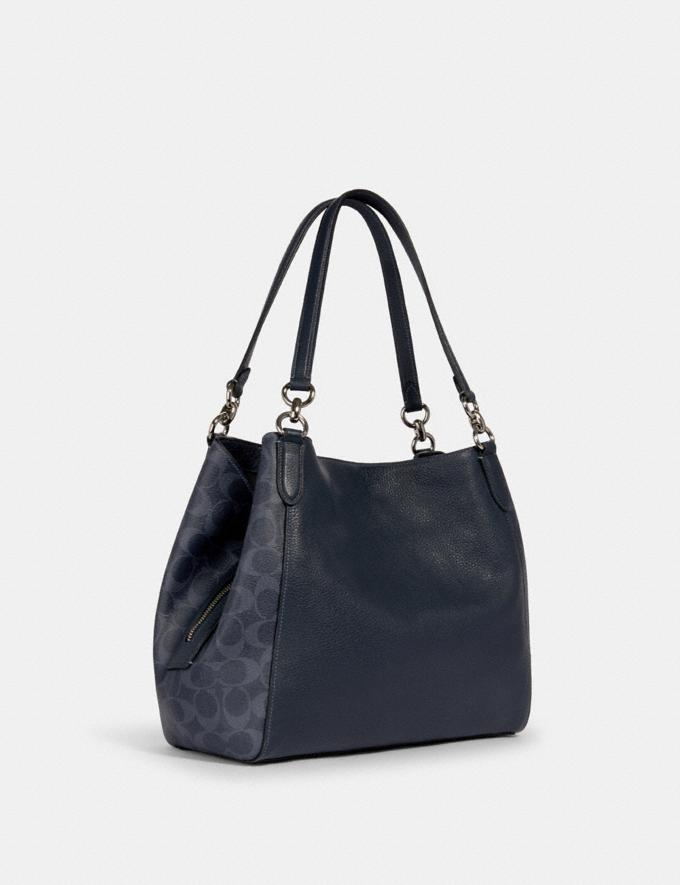 Coach Hallie Shoulder Bag in Signature Canvas Sv/Denim Midnight  Alternate View 1