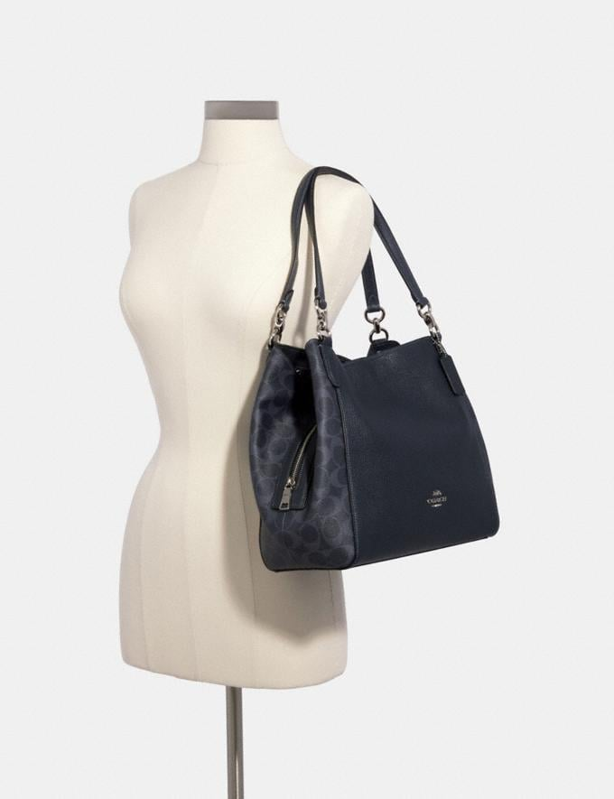 Coach Hallie Shoulder Bag in Signature Canvas Sv/Denim Midnight  Alternate View 3