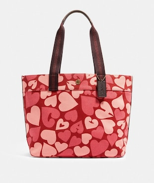TOTE WITH COACH HEART PRINT