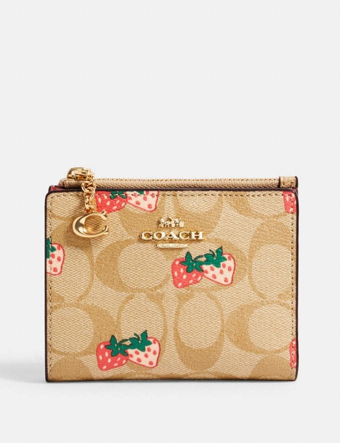 Coach Snap Card Case in Signature Canvas With Strawberry Print Im/Khaki Multi