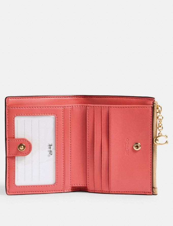 Coach Snap Card Case in Signature Canvas With Strawberry Print Im/Khaki Multi  Alternate View 1