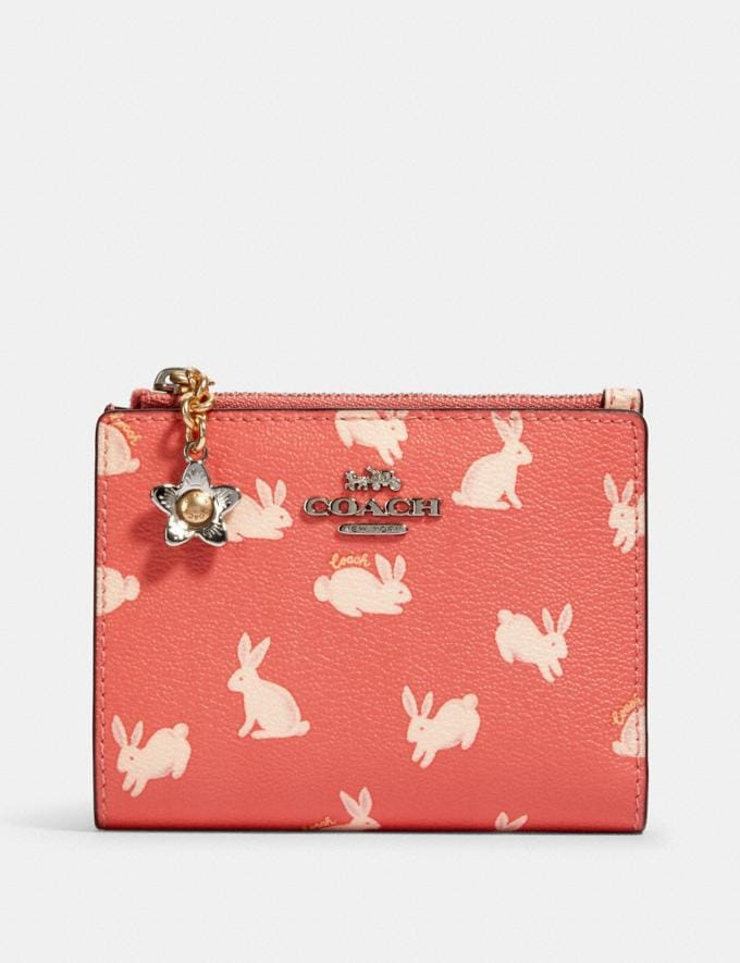 Coach Snap Card Case With Bunny Script Print Sv/Bright Coral Clearance