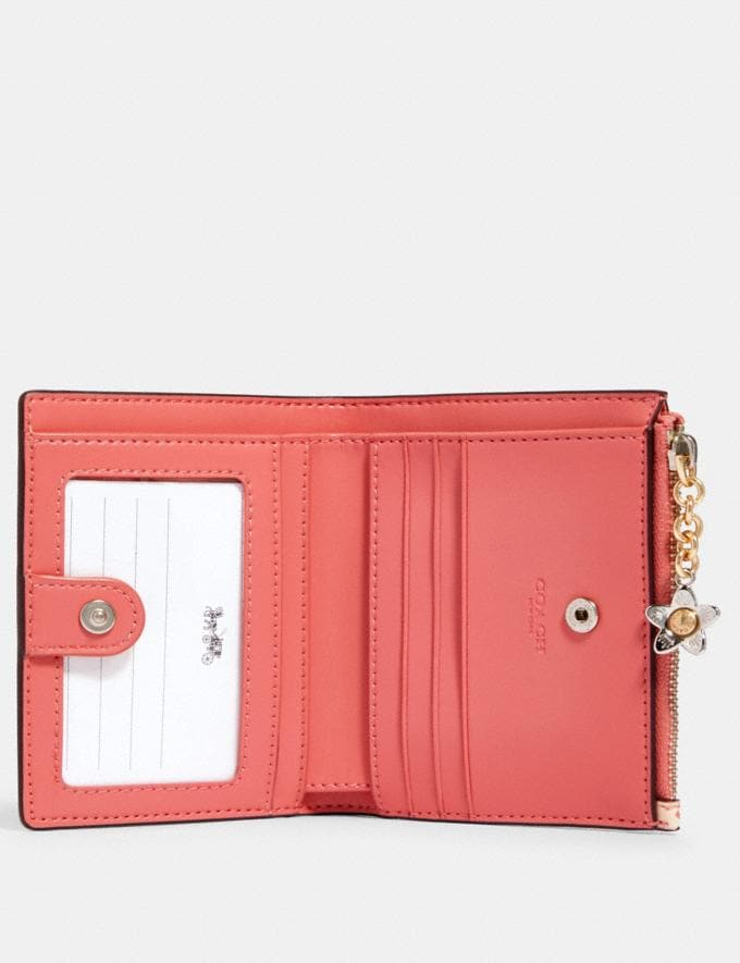 Coach Snap Card Case With Bunny Script Print Sv/Bright Coral Clearance Alternate View 1