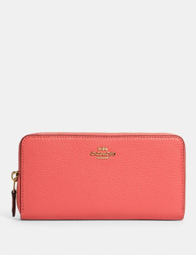 Coach Accordion Zip Wallet Im/Bright Coral Wine