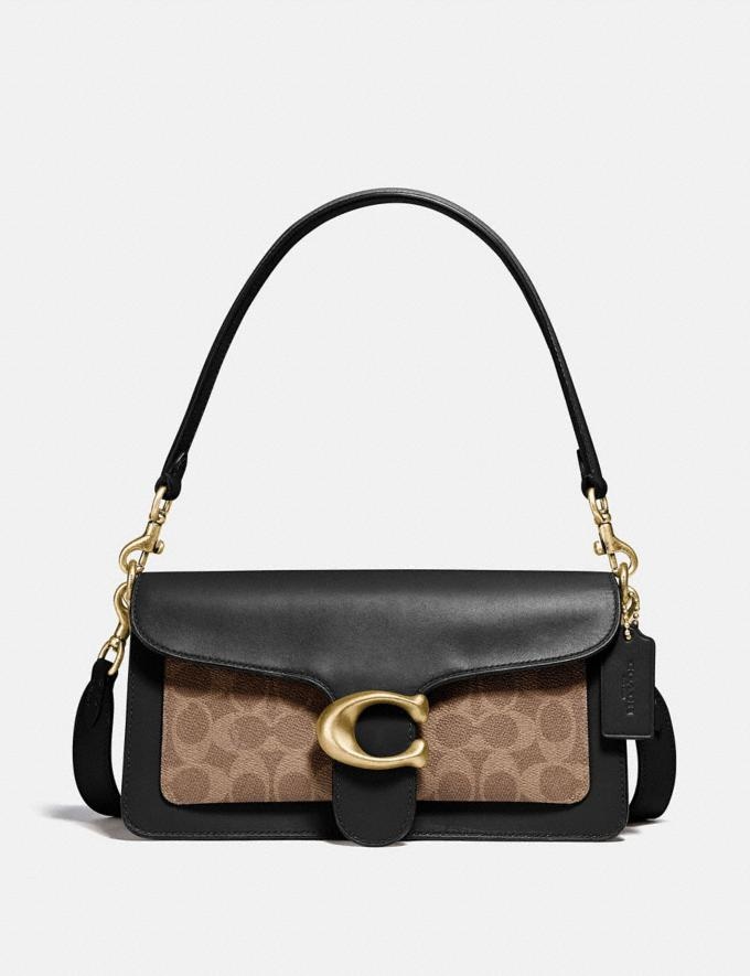 Coach Tabby Shoulder Bag 26 With Signature Canvas Brass/Tan Black New Featured Signature Styles