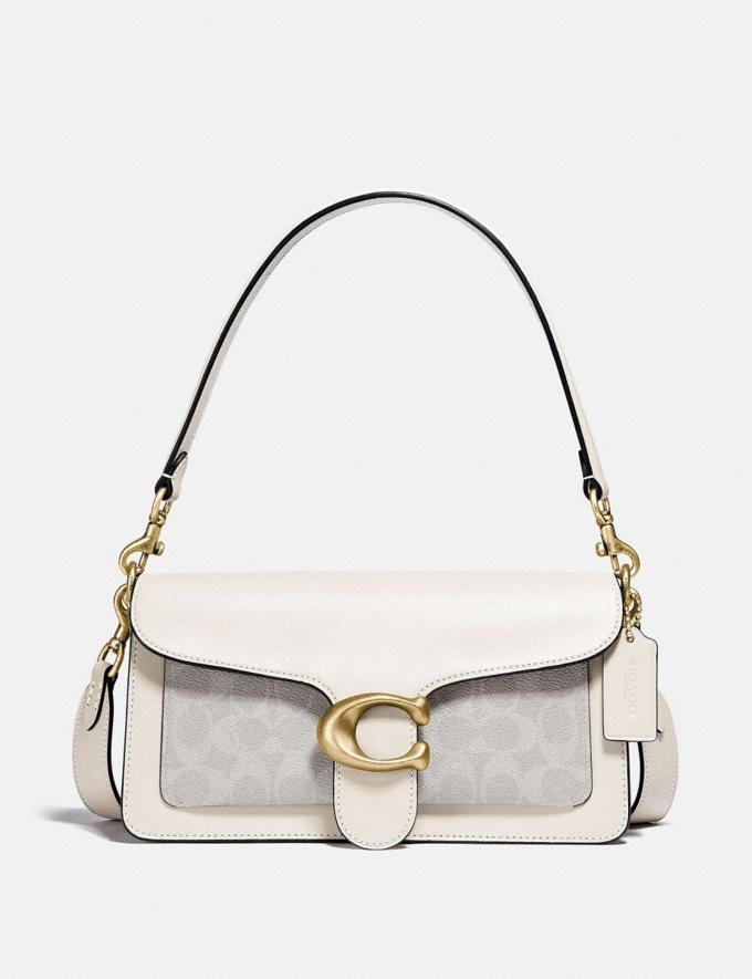Coach Tabby Shoulder Bag 26 With Signature Canvas Brass/Chalk Chalk Gifts For Her Under $500