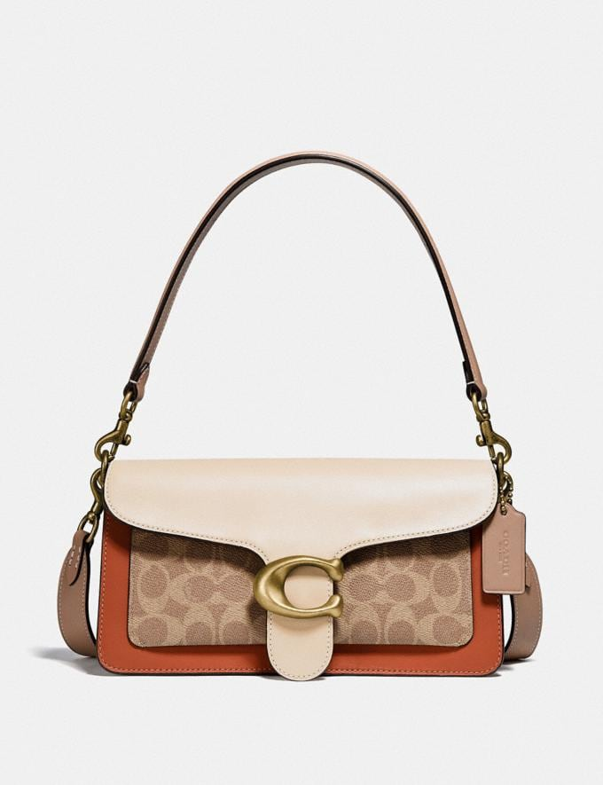 Coach Tabby Shoulder Bag 26 With Signature Canvas Brass/Tan Ivory New Women's New Arrivals Bags