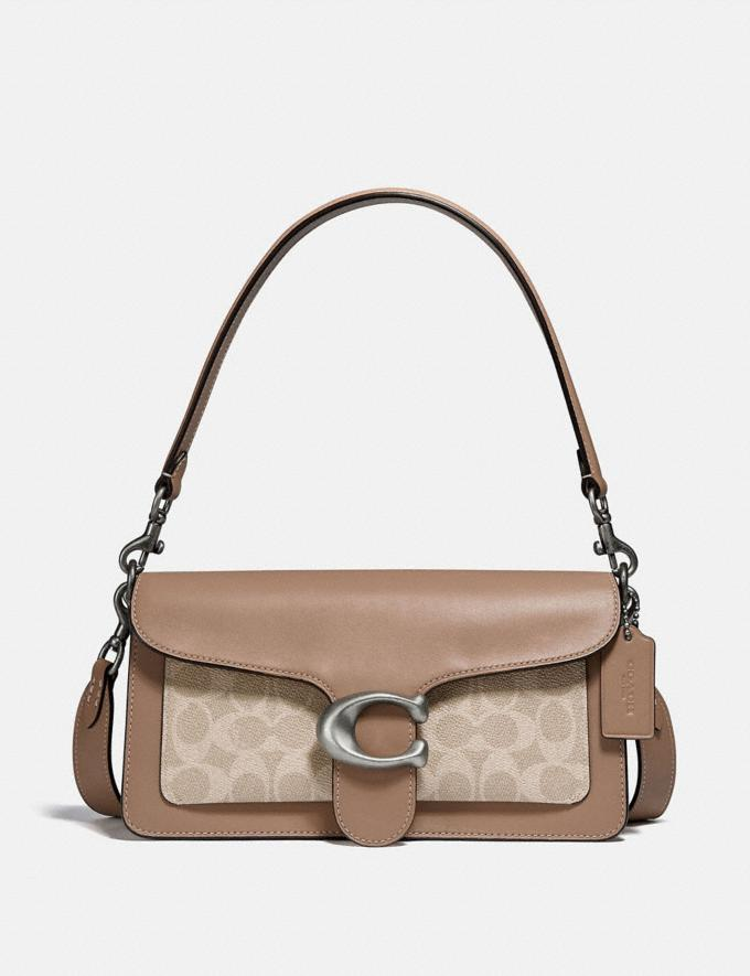 Coach Tabby Shoulder Bag 26 With Signature Canvas Light Nickel/Sand Taupe Women Edits Party