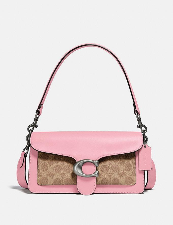 Coach Tabby Shoulder Bag 26 With Signature Canvas Pewter/Tan Powder Pink Seasonal Offers Women Bags