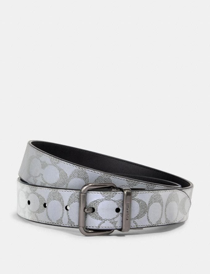 Coach Harness Buckle Cut-To-Size Reversible Belt, 38mm Qb/Reflective Silver