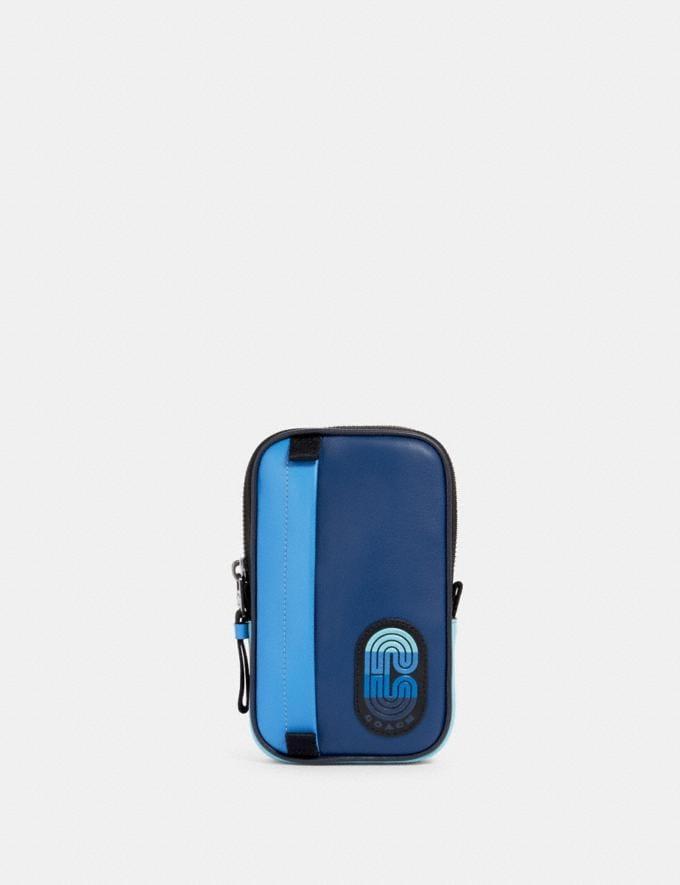Coach North/South Hybrid Pouch in Colorblock With Coach Patch Qb/Blue Multi Men