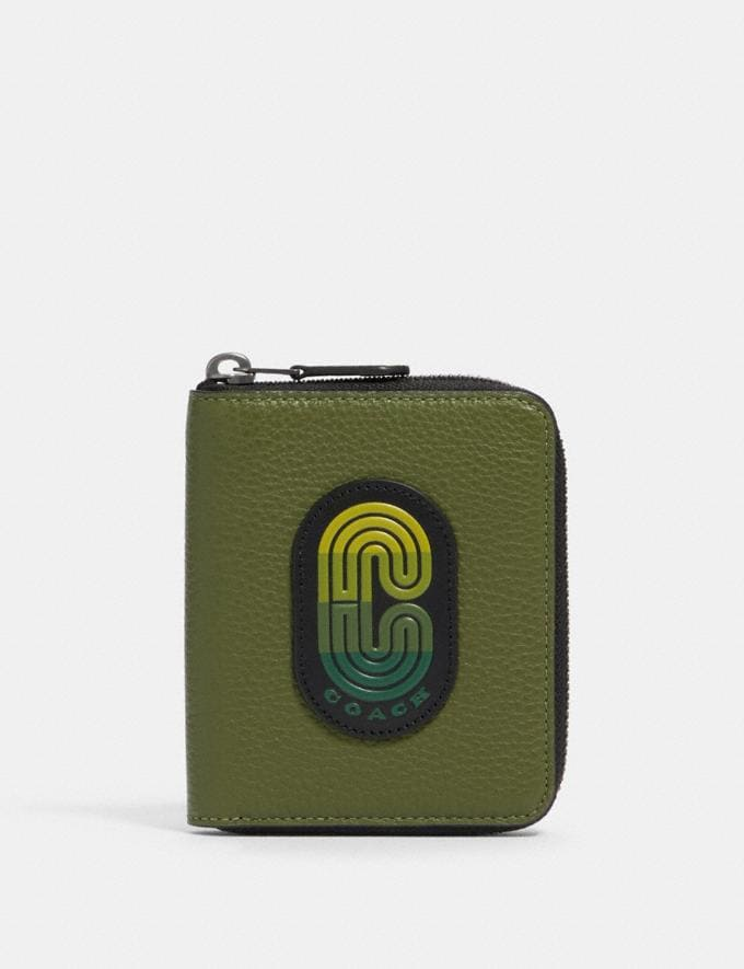 Coach Medium Zip Around Wallet in Colorblock With Coach Patch Qb/Green Multi