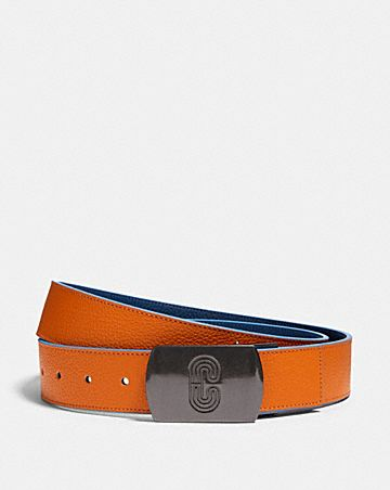 plaque buckle cut-to-size reversible belt, 38mm