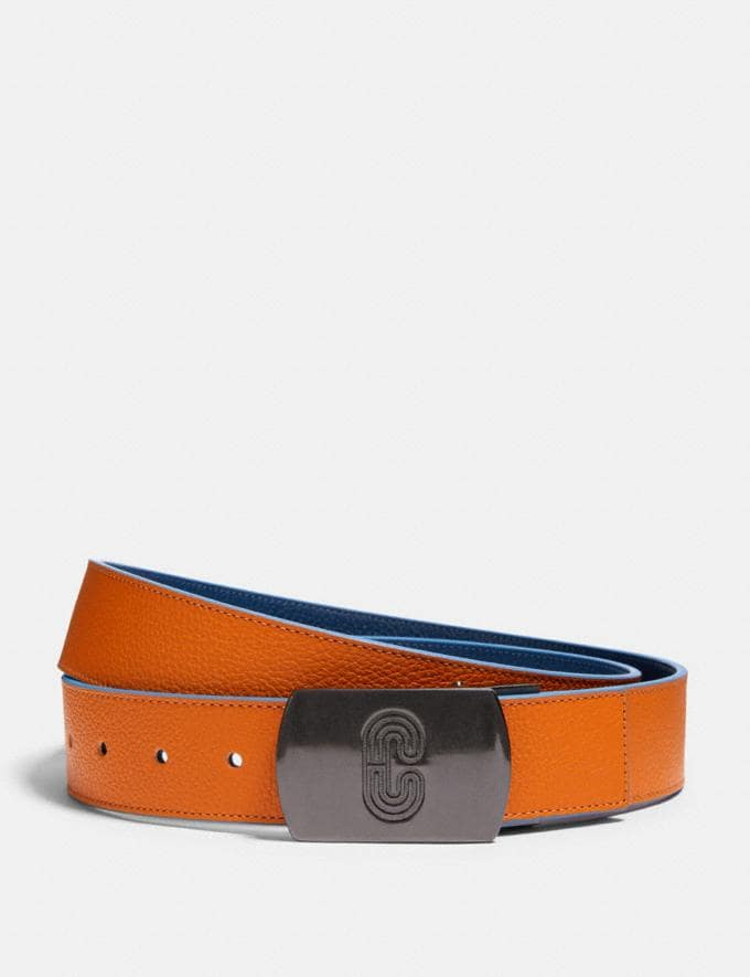 Coach Plaque Buckle Cut-To-Size Reversible Belt, 38mm Qb/Clementine Admiral