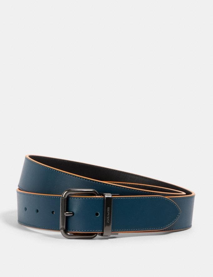 Coach Harness Buckle Cut-To-Size Reversible Belt, 38mm Qb/Aegean Black
