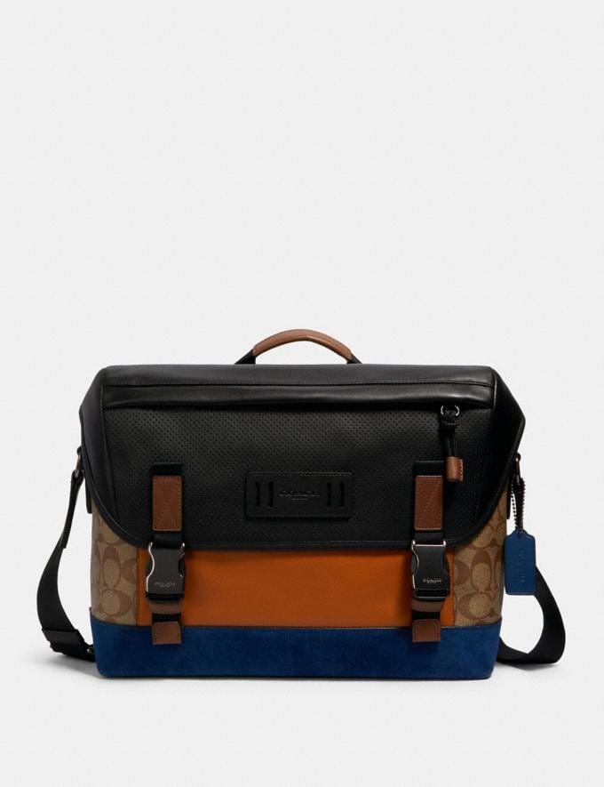 Coach Ranger Messenger in Signature Canvas With Mountaineering Detail Qb/Tan Burnt Sienna Multi