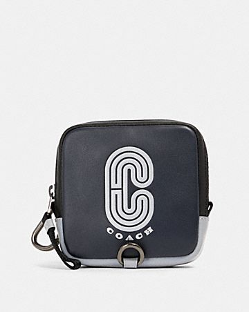 square hybrid pouch with reflective coach patch