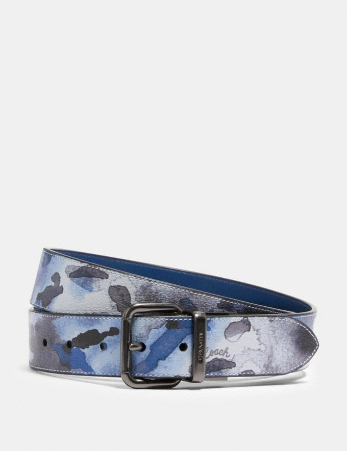 Coach Harness Buckle Cut-To-Size Reversible Belt With Watercolor Script Print, 38mm Qb/Blue Multi