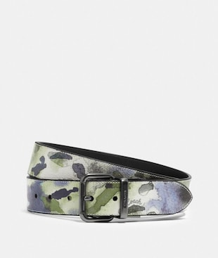 HARNESS BUCKLE CUT-TO-SIZE REVERSIBLE BELT WITH WATERCOLOR SCRIPT PRINT, 38MM