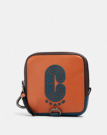 square hybrid pouch in colorblock with coach patch