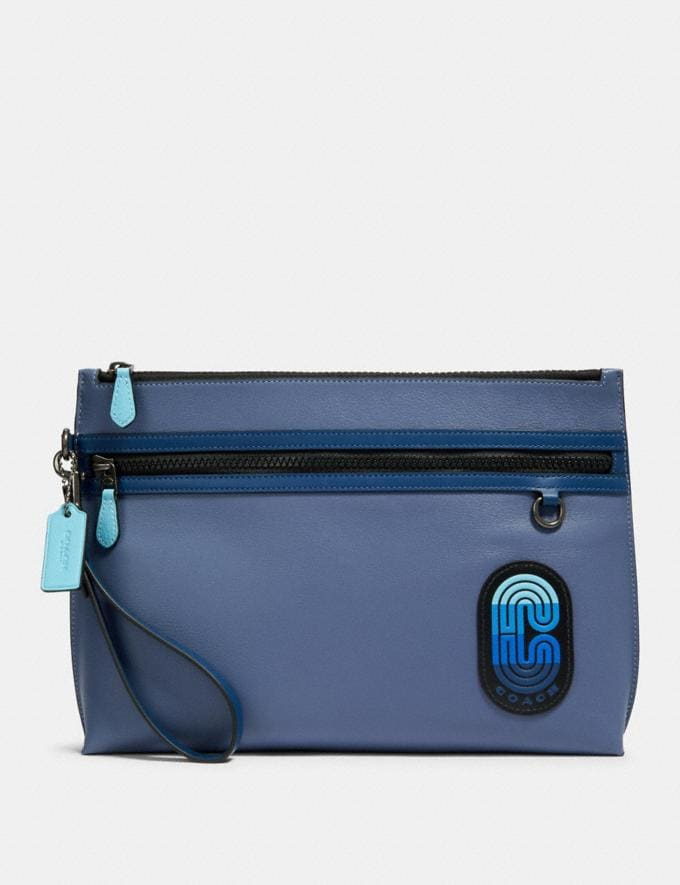 Coach Carryall Pouch in Colorblock With Coach Patch Qb/Blue Multi Men