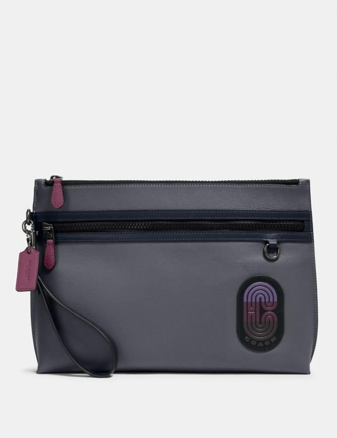 Coach Carryall Pouch in Colorblock With Coach Patch Qb/Grey Purple Multi Men