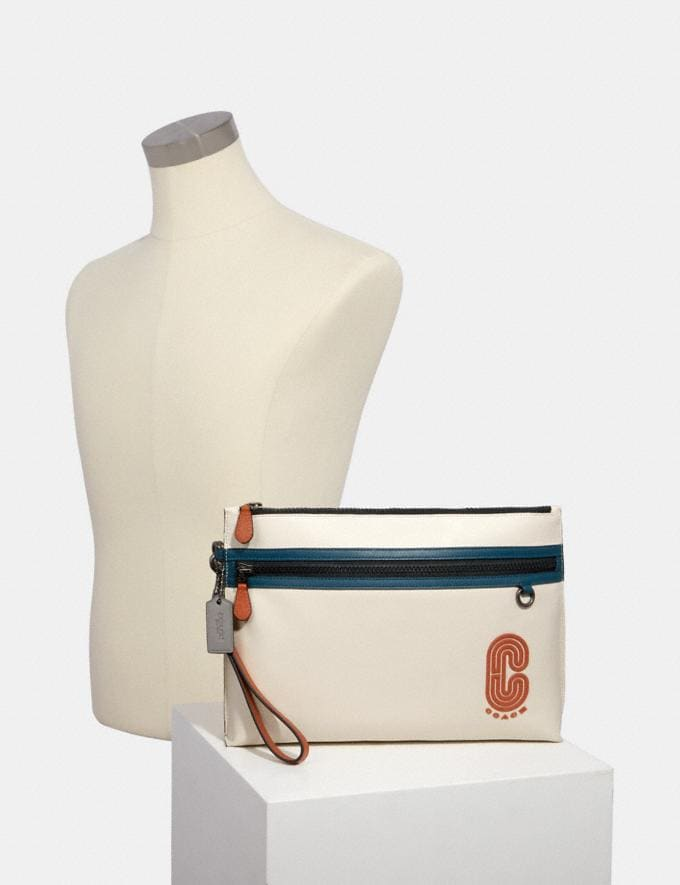 Coach Sporty Carry All Pouch in Colorblock With Coach Patch Qb/Chalk Aegean Multi  Alternate View 2