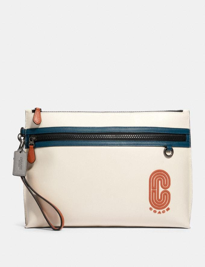 Coach Sporty Carry All Pouch in Colorblock With Coach Patch Qb/Chalk Aegean Multi