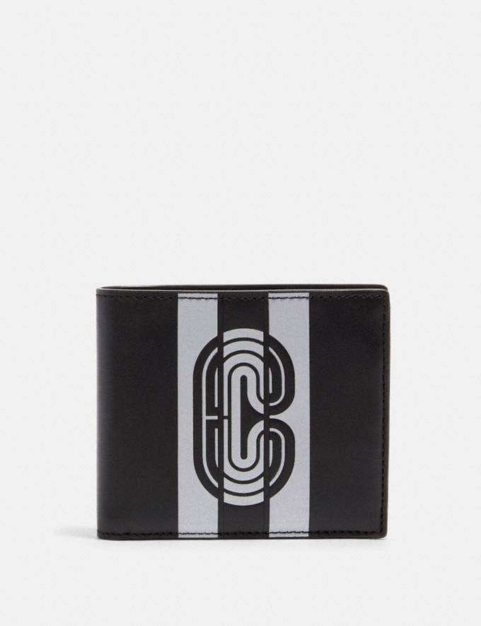 Coach 3-In-1 Wallet With Reflective Varsity Stripe and Coach Patch Qb/Black/Silver/Black Clearance Men