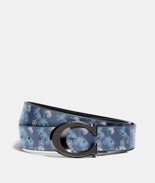 SIGNATURE BUCKLE CUT-TO-SIZE REVERSIBLE BELT WITH HORSE AND CARRIAGE PRINT, 38MM