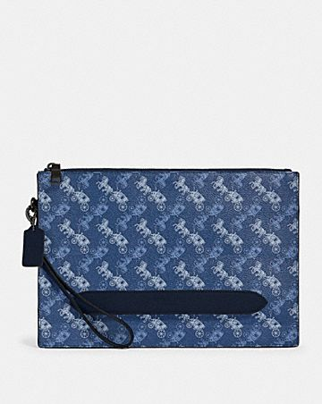 structured pouch with horse and carriage print
