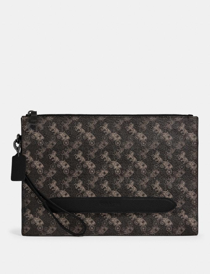 Coach Structured Pouch With Horse and Carriage Print Qb/Black Multi