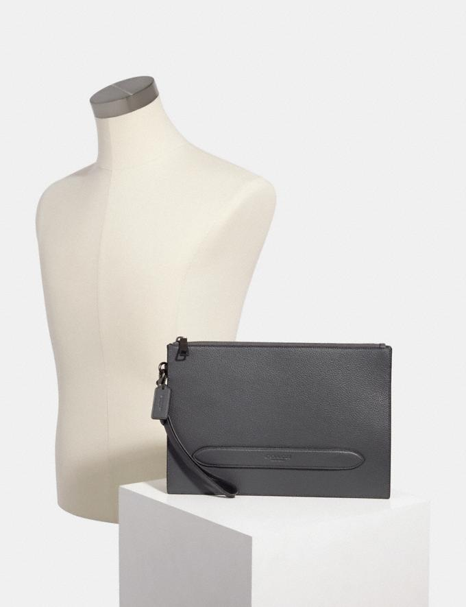 Coach Structured Pouch Qb/Industrial Grey  Alternate View 2