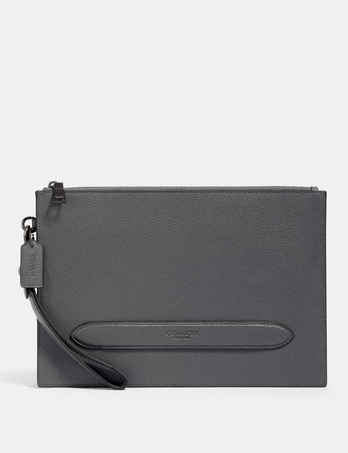 Coach Structured Pouch Qb/Industrial Grey Deals Just Reduced