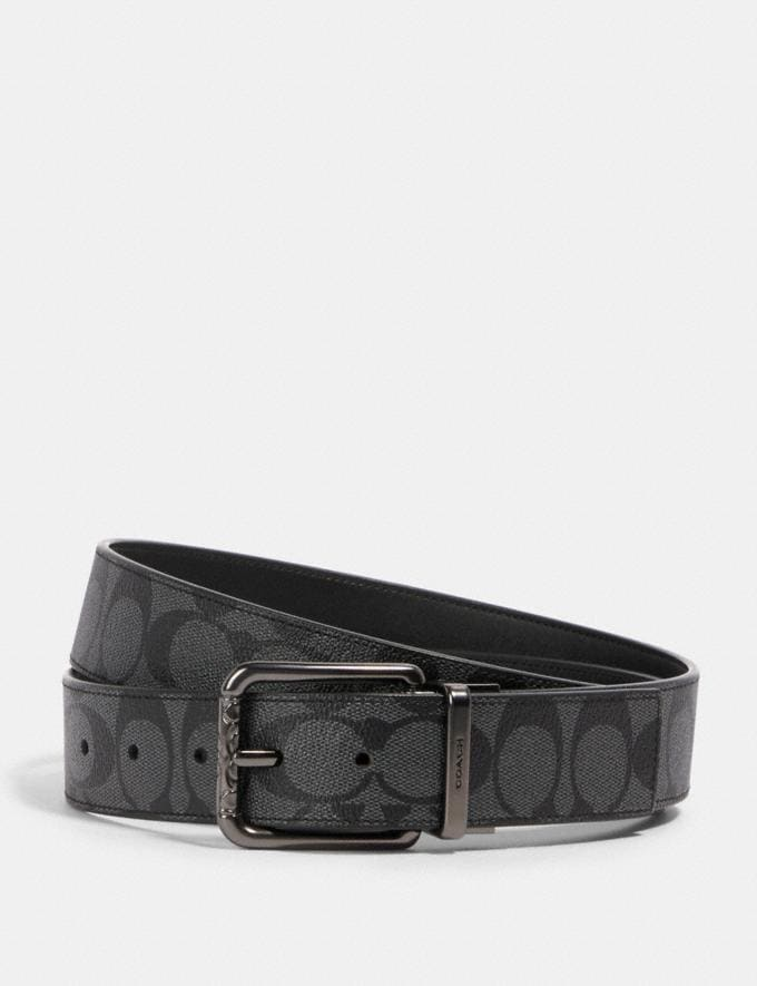 Coach Harness Buckle Cut-To-Size Reversible Belt, 38mm Qb/Charcoal/Black