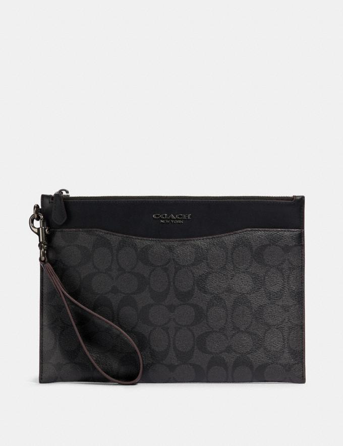 Coach Beckett Slim Pouch in Signature Canvas Ji/Black/Black Translations 9.3 Outlet sale and back in stock
