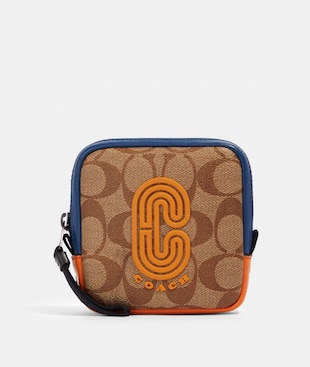 SQUARE HYBRID POUCH IN COLORBLOCK SIGNATURE CANVAS WITH COACH PATCH