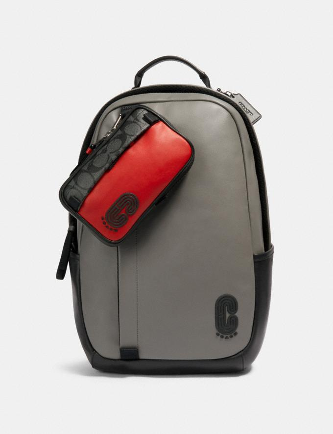 Coach North/South Hybrid Pouch in Signature Canvas With Coach Patch Qb/Sport Red Charcoal  Alternate View 1