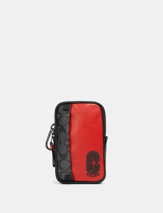 Coach North/South Hybrid Pouch in Signature Canvas With Coach Patch Qb/Sport Red Charcoal