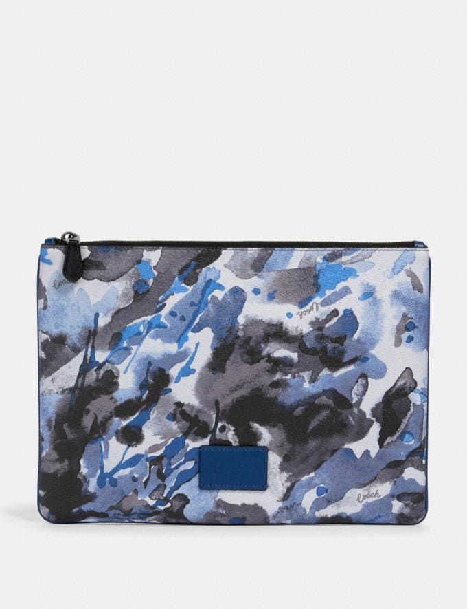 Coach Large Pouch With Watercolor Script Print Qb/Blue Multi Clearance New To Clearance