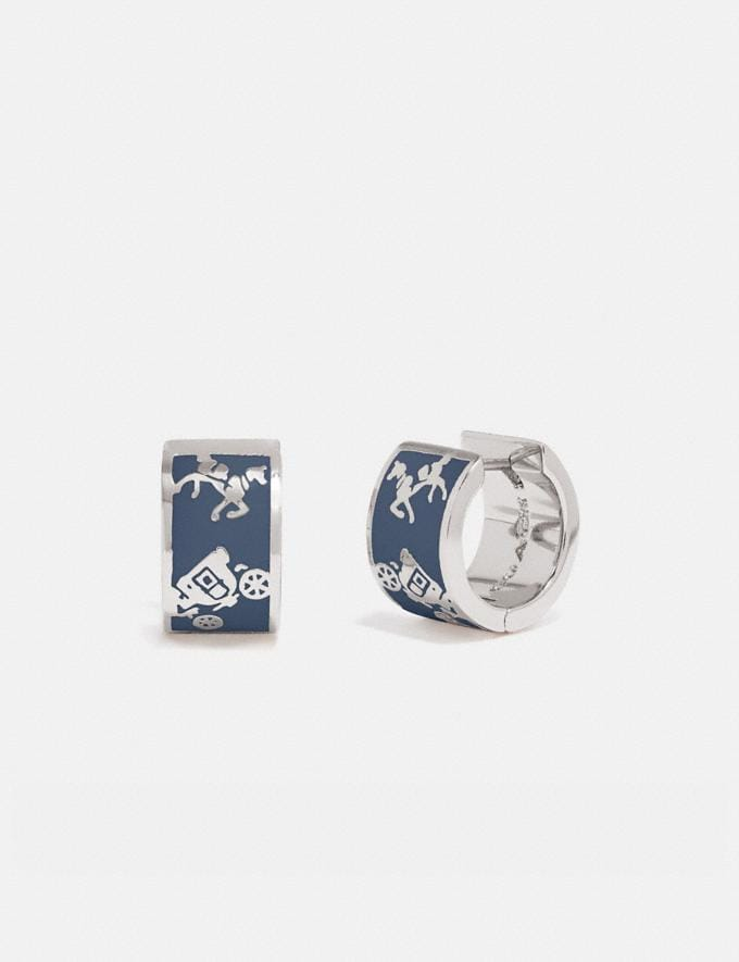 Coach Horse and Carriage Huggie Earrings Silver/Denim Women Accessories Jewelry & Watches